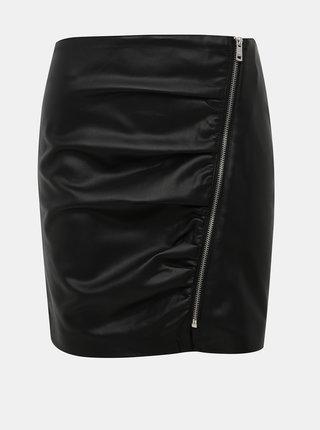 Čierna púzdrová koženková minisukňa ONLY Viga