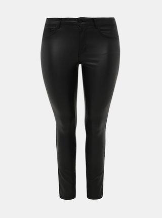 Černé koženkové skinny fit kalhoty ONLY CARMAKOMA Punk