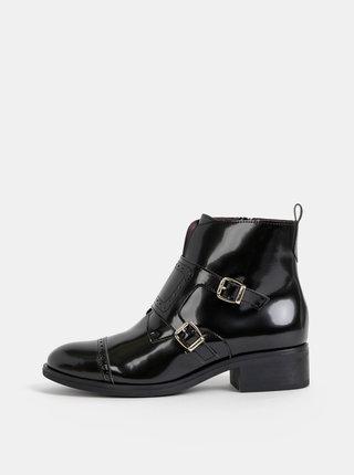 Čierne členkové lesklé topánky OJJU