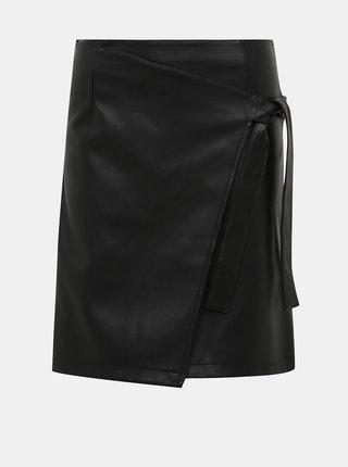 Čierna koženková sukňa VILA Pen