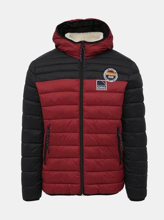 Červená prošívaná voděodpudivá zimní bunda Jack & Jones Josh
