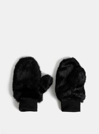 Černé palčáky z umělé kožešiny VERO MODA Edy