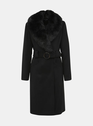 Černý kabát s odnímatelným umělým kožíškem Miss Selfridge