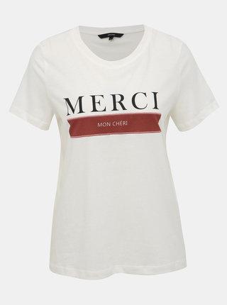 Bílé tričko s potiskem VERO MODA Eddy