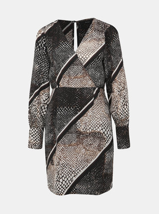 Béžové šaty s hadím vzorom a priestrihom na chrbte VERO MODA Solde
