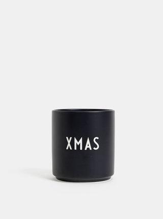 Čierny porcelánový hrnček Design Letters Xmas 300 ml