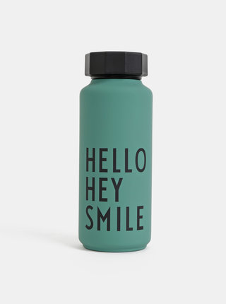 Zelená termo láhev Design Letters Hello Hey Smile 500 ml