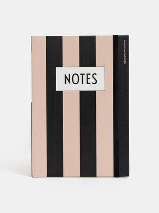 Černo-růžový pruhovaný zápisník Design Letters Notes A5