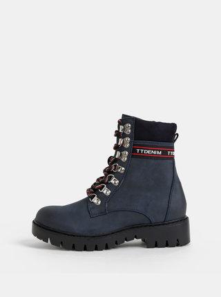 Tmavomodré dámske členkové zimné topánky Tom Tailor