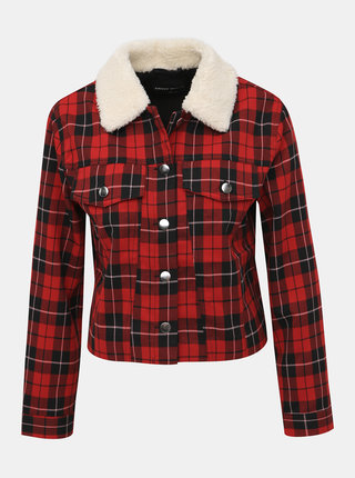 Červená kostková lehká bunda s umělým kožíškem TALLY WEiJL