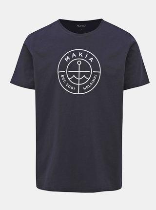 Tmavomodré pánske tričko s potlačou Makia Scope