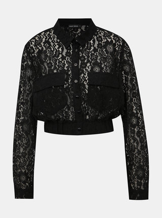 Čierna krátka krajkovaná košeľa TALLY WEiJL