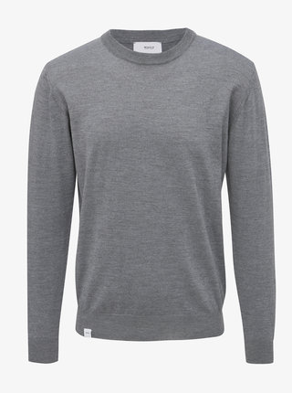 Šedý pánsky basic sveter z Merino vlny Makia Merino