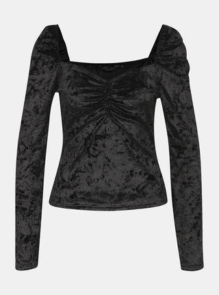 Černé sametové tričko Dorothy Perkins