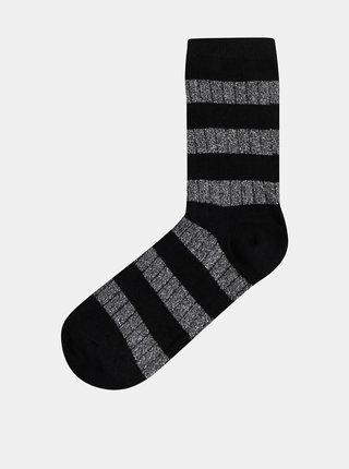 Třpytivé pruhované ponožky ve stříbrno-černé barvě VERO MODA Greta