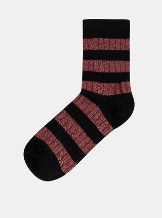 Vínovo-černé pruhované třpytivé ponožky VERO MODA Greta