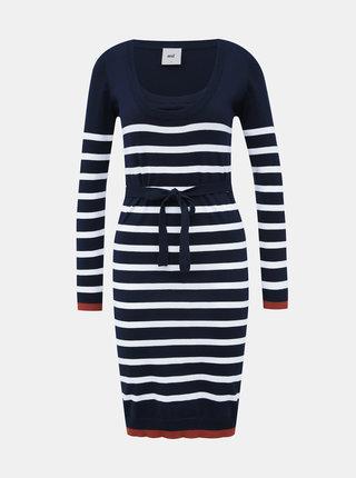 Tmavě modré pruhované těhotenské/kojicí svetrové šaty Mama.licious Kenna