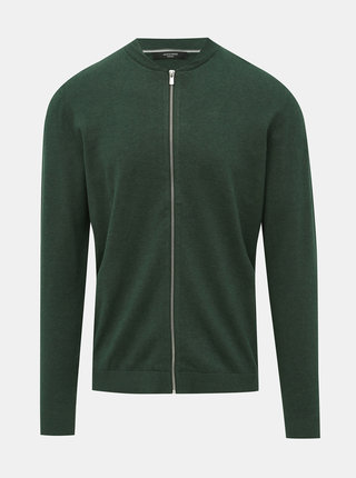 Tmavozelený sveter na zips Jack & Jones Redgar