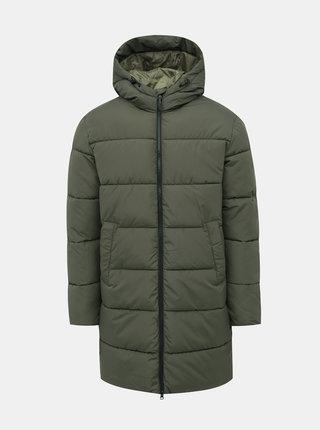 Khaki dlouhá prošívaná voděodpudivá zimní bunda Jack & Jones Knight
