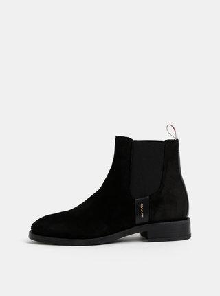 Čierne dámske semišové chelsea topánky GANT Fay