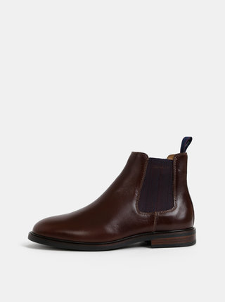 Tmavě hnědé pánské kožené chelsea boty GANT Ricardo