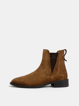 Hnedé dámske semišové chelsea topánky GANT Hampton