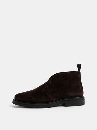 Tmavě hnědé pánské semišové kotníkové boty GANT Fargo