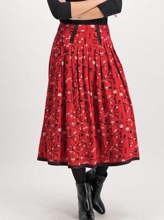 Červená vzorovaná midi sukně Blutsgeschwister Corowningday