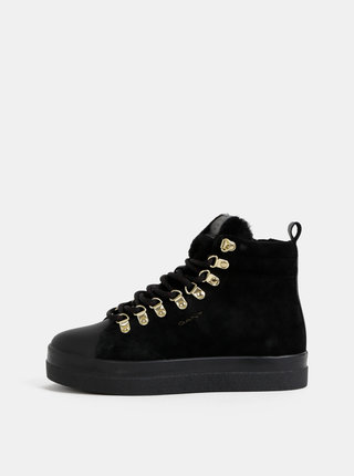 Čierne dámske semišové členkové topánky GANT Aurora