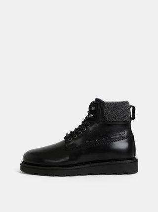 Čierne pánske kožené členkové zimné topánky s vlnenou podšívkou GANT Don