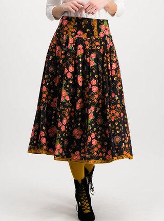 Čierna vzorovaná midi sukňa Blutsgeschwister Secret Midnight Lights Corowningday