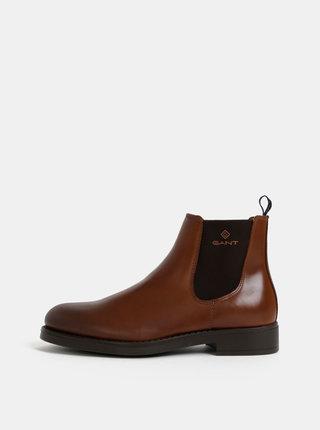 Hnedé pánske kožené chelsea topánky GANT Oscar