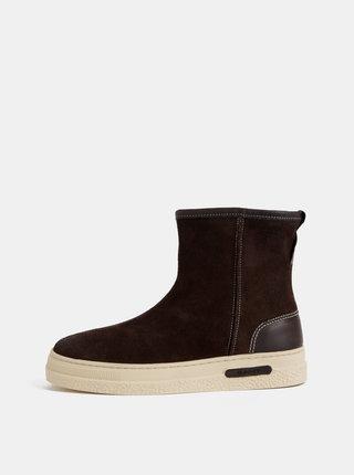 Tmavohnedé dámske semišové členkové zimné topánky s vlnenou podšívkou GANT Maria