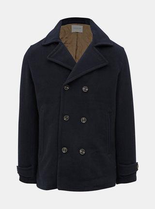 Tmavomodrý vlnený krátky kabát Selected Homme Matt