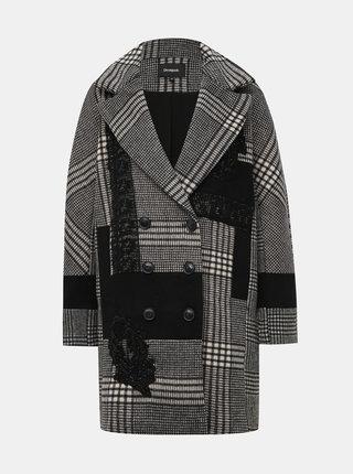 Šedý kockovaný  kabát Desigual Abrig Detroit