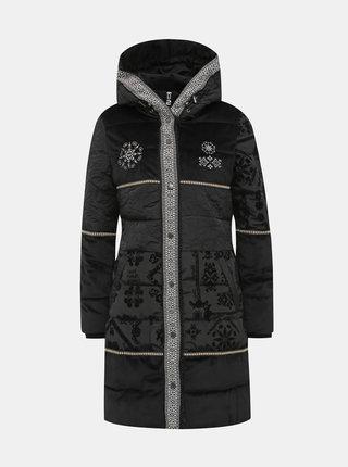 Černý vzorovaný kabát Desigual Padded Noa