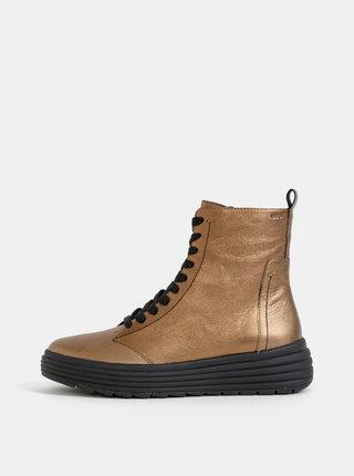 Dámske kožené kotníkové topánky v zlatej farbe Geox Phaolae