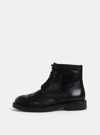 Čierne dámske kožené brogue kotníkové topánky Vagabond Alex