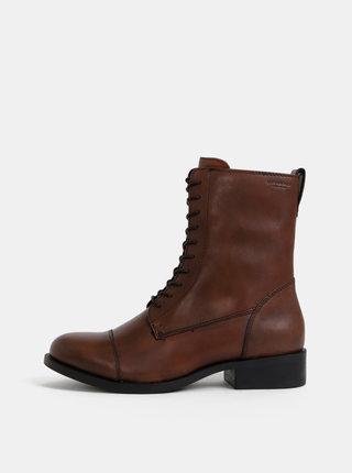 Tmavohnedé dámske kožené kotníkové topánky Vagabond Cary