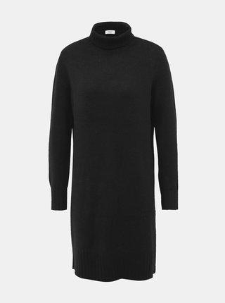 Čierne svetrové šaty s rolákom Jacqueline de Yong Debbie