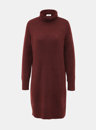 Hnědé svetrové šaty s rolákem Jacqueline de Yong Debbie