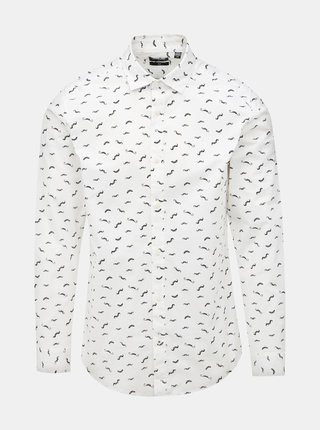 Bílá vzorovaná slim fit košile ONLY & SONS France