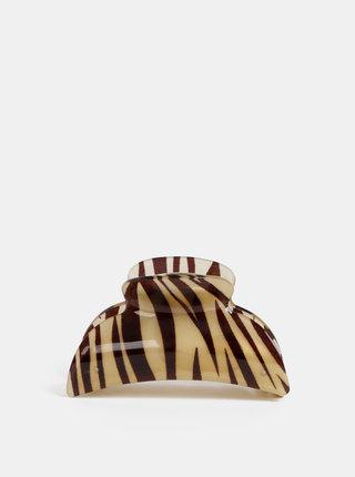 Svetlohnedý štipček do vlasov so zebrím vzorom VILA