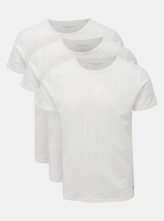 Kolekcia troch bielych pánskych trik pod košeľu Tommy Hilfiger
