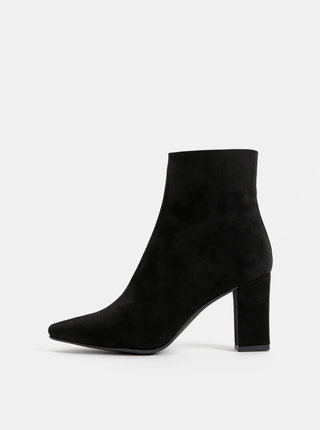 Čierne kotníkové topánky v semišovej úprave OJJU