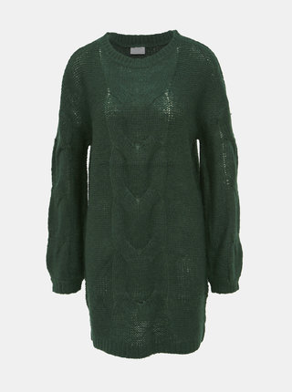 Tmavě zelený dlouhý svetr VILA