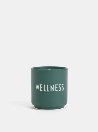 Tmavozelená vonná sviečka Design Letters Wellness