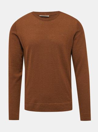 Hnedý basic sveter z Merino vlny Lindbergh