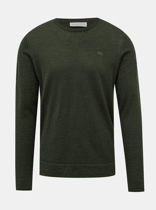 Tmavě zelený basic svetr z Merino vlny Lindbergh