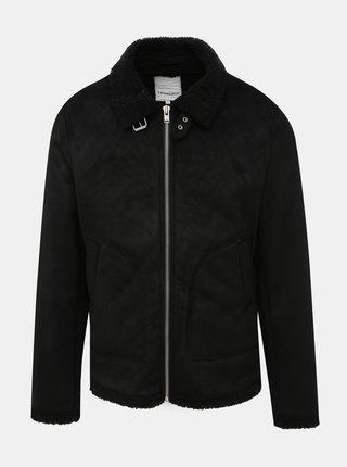 Černá bunda v semišové úpravě s umělým kožíškem Lindbergh